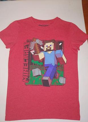 Next стильная футболка на мальчика 9 лет, с майн крафт