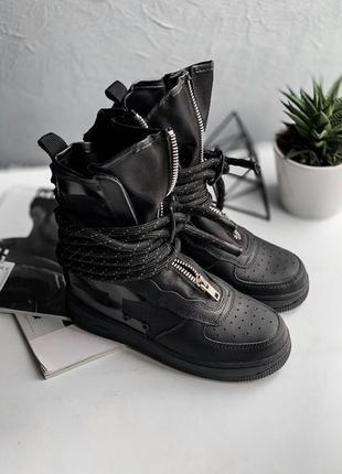 Nike sf air force 1 hi (black/dark) женские кроссовки осенние высокие чёрные