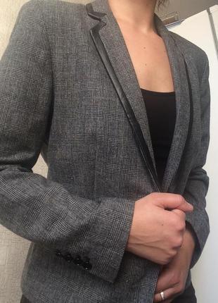 Актуальный шерстяной жакет/пиджак/блейзер в клетку