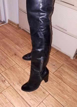 Кожаные высокие ботфорты натуральная кожа внутри и снаружи  демисезонные каблук 8 см