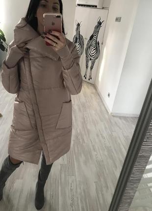 Пудровое пальто одеялко с манжетами в стиле zara