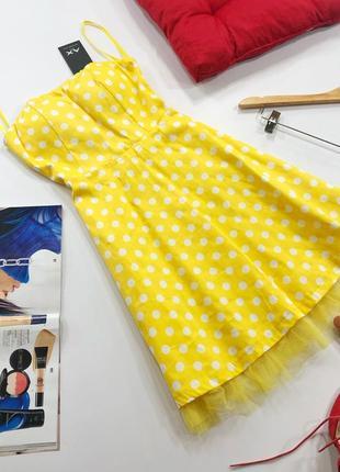Роскошное платье бюстье в горох с чашками и фатином ax paris