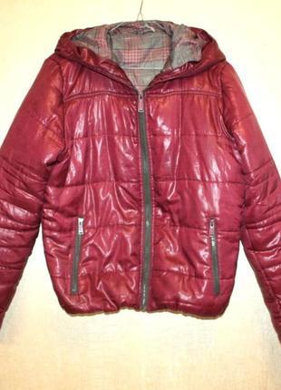 Куртка дутая пуфер объемная фиолетовая демисезонная зимняя с капюшоном terranova l (к000)