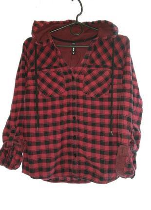 Стильная теплая рубашка с капюшоном fb sister