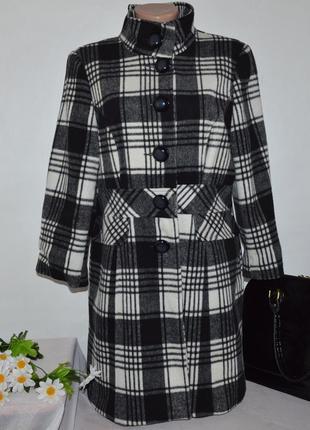 Брендовое черно-белое демисезонное пальто в клетку george вьетнам акрил шерсть