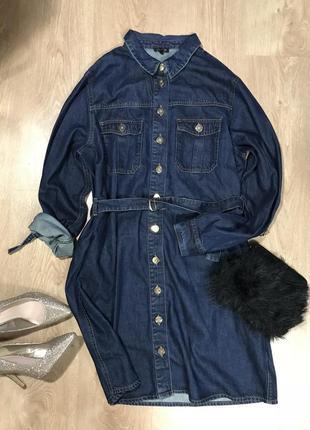 Платье джинсовое с поясом xxl