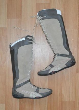 !!!окончательная распродажа!!!кожаные высокие сапоги на шнуровке puma