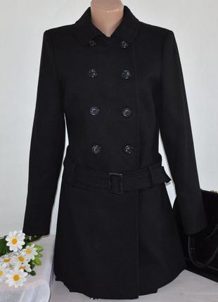 Брендовое черное демисезонное пальто с поясом и карманами dorothy perkins вьетнам