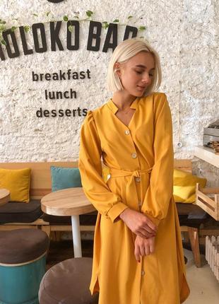 Стильное женское платье на крупных пуговицах под поясок! миди цвет горчица