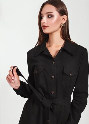 Женское повседневное платье в стиле сафари с карманами на пуговичках! джинс котон черное