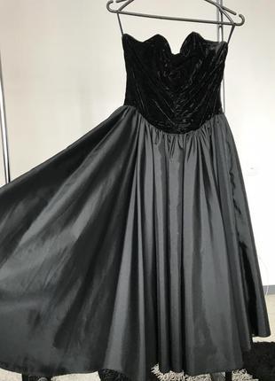 Шикарное вечернее платье черное велюровое вельветовое бархатное