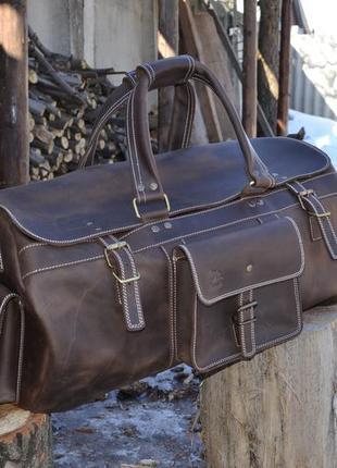 Дорожная кожаная сумка бизон из телячьей кожи