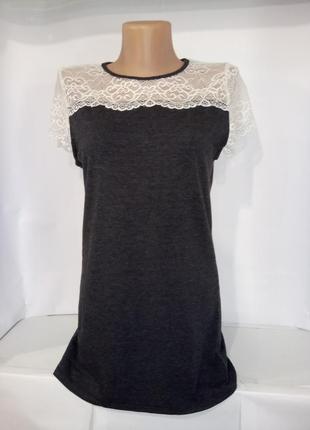Хлопковая блуза с ажурной кокеткой uk 12 / 40 / m
