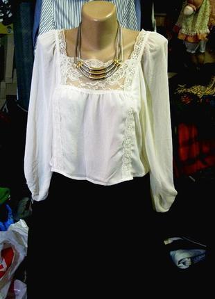 Нежнейшая блузка топ с кружевом xs - s