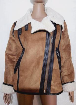 Супер крутая дубленка-авиатор,косуха-куртка