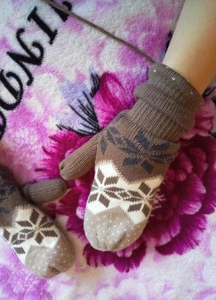 Тёплые варежки перчатки утеплены акция 1+1=3