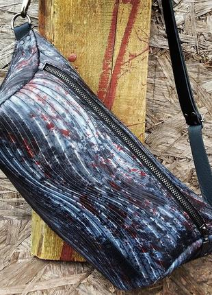 Натуральная кожа.  оверсайз бананка, большая поясная сумка, слинг, рюкзак