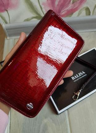 Женский кожаный кошелек - бордовый