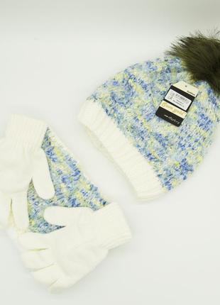 Комплект: шапка, снуд, перчатки детский 7-12 лет зелёно-голубой