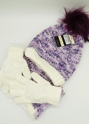 Комплект: шапка, снуд, перчатки детский 7-12 лет фиолетовый