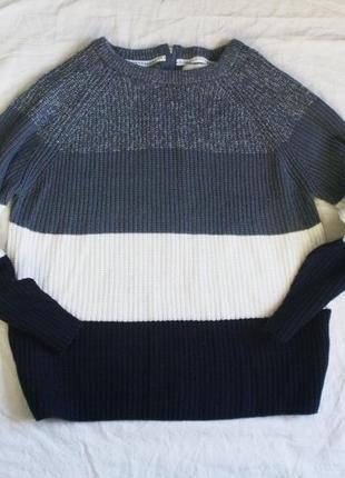 Вязаный трехцветный свитер/свитшот/пуловер/джемпер/кофта