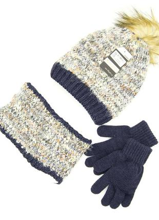 Комплект: шапка, снуд, перчатки детский 7-12 лет сине-коричневый