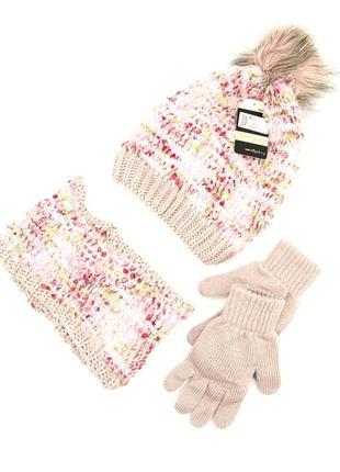 Комплект: шапка, снуд, перчатки детский 7-12 лет розовый
