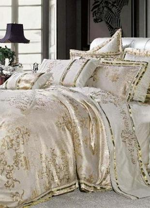Сатин жаккард viluta рис.1727 золото, постельное белье премиум класса, евро, семейный.