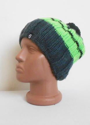 Осенняя зимняя вязаная шапка с помпоном