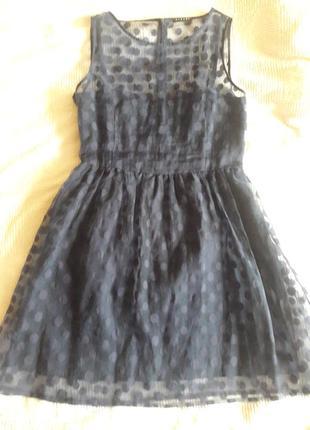 Платье синее  в горох из органзы