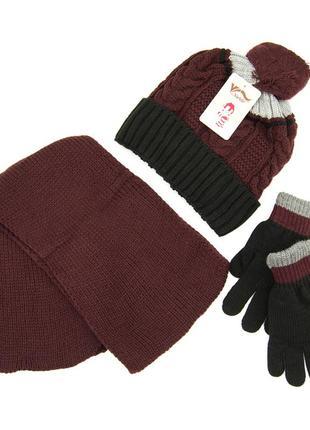 Комплект: шапка, шарф, перчатки детский 7-12 лет коричнево-чёрный