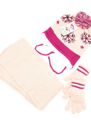 Комплект: шапка, шарф, перчатки детский 3-6 лет светло-розовый