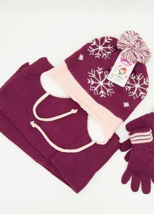 Комплект: шапка, шарф, перчатки детский 3-6 лет бордовый