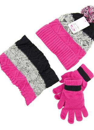 Комплект: шапка, снуд, перчатки детский 7-12 лет розово-чёрный
