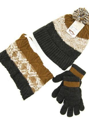 Комплект: шапка, снуд, перчатки детский 7-12 лет коричневый