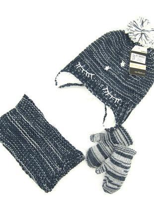 Комплект: шапка, снуд, перчатки детский 6 мес -2 года синий