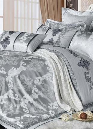 Сатин жаккард viluta рис.1732 серебро, постельное белье премиум класса, евро, семейный1 фото