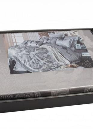 Сатин жаккард viluta рис.1732 серебро, постельное белье премиум класса, евро, семейный4 фото