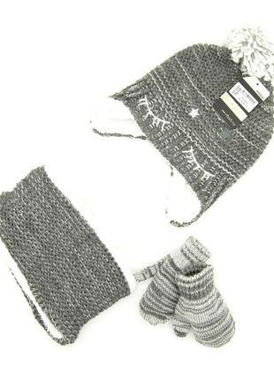 Комплект: шапка, снуд, перчатки детский 6 мес -2 года серый