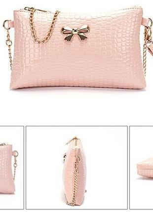 Сумка-клатч модного персикового цвета! в подарок серьги!