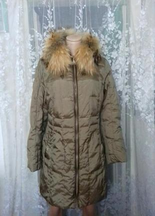 Пальто-пуховик мех натуральный  (энот)
