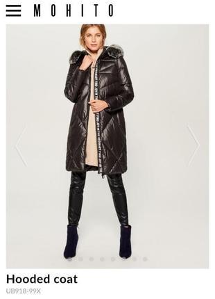Стеганое пальто mohito с капюшоном