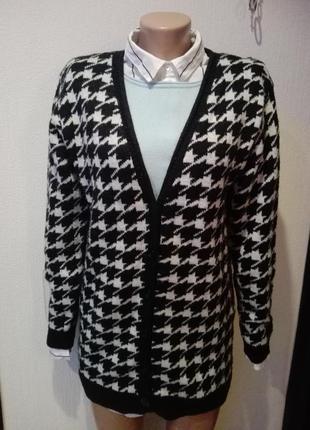 Кардиган жакет кофта пуловер  вязаный с модным принтом на пуговицах