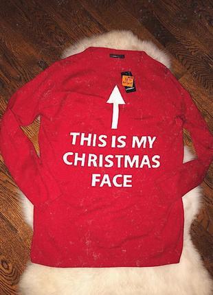 Новый мужской новогодний свитер красный/ супер свитер красного цвета
