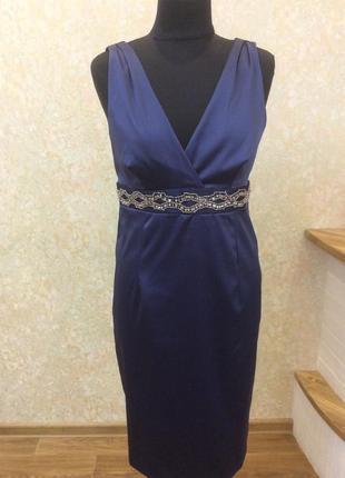 Платье вечернее стрейчевый атлас с камнями