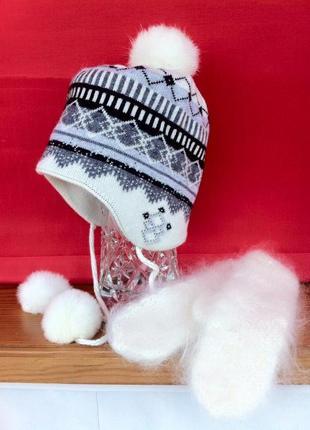 Шапка с бубонами. лыжная шапочка. варежки. рукавицы. перчатки.