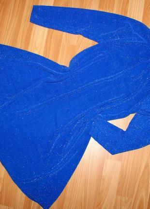 Очень стильное синее платье туника с люрексом. m-l.46-48