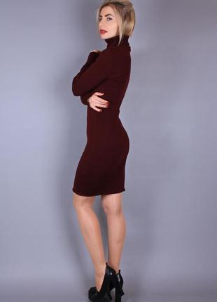 Платье-гольф в рубчик бордо