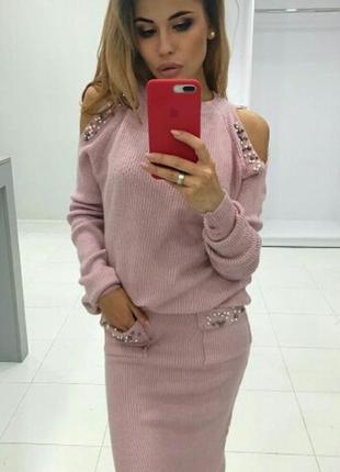 Костюм юбка миди в составе кашемир с-м-л качество люкс 42-48