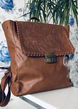 Винтажный портфель с эко-кожи